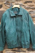 MANS GREEN LEATHER BOMBER STYLE JACKET BY MONTANA SIZE 46