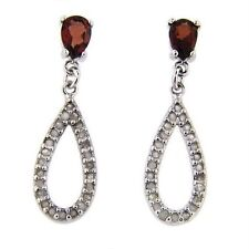 Natural Red Garnet 50 Diamonds Teardrop Earrings White 14k Gold over 925 SS