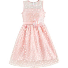 Flower Girl Dress Lace Sequin Flare Pink Wedding Party Age 5-12 Years Pageant