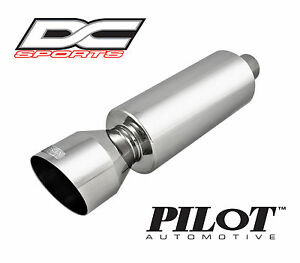"""DC Sports Universal Stainless Steel Exhaust Muffler 2"""" Inlet 4 25"""" Outlet"""