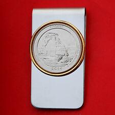 US 2014 Utah Arches National Park BU UNC Quarter Coin Two Toned Money Clip