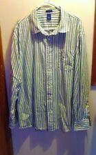 Falls Creek Men's XXL, Button Down Shirt, Green & Blue Striped, Long Sleeve -EUC