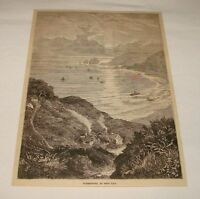 1880 magazine engraving ~ SUNSET, REST BAY, Porthcawl, Wales