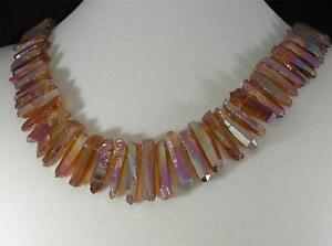 Pink Gold Electroplated Rock Crystal Quartz Point Necklace 14K Gold Filled