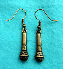 Antique Bronze Microphone Earrings Rock Musician Singer