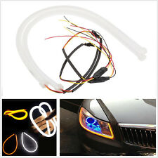 2pcs 60cm White Amber Flexible DRL Daytime Running Light LED Strip as Audi Style