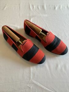 Stubbs Wooton Red Striped Linen Loafers 10.5