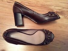 New🌹Next🌹UK Size 4 Chocolate Brown Court Peep Toe Shoes 37 EU Smart Office