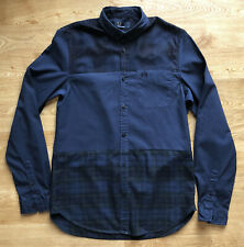 Fred Perry Mens Blue Green Checked Plaid Tartan Shirt Small Long Sleeved Cotton