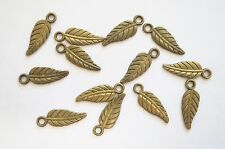 20 Metal Antique Bronze Leaf Charms - 19mm x 7mm