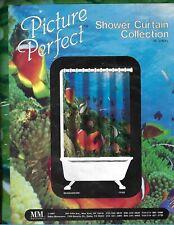 "Picture Perfect Shower Curtain SEAQUARIUM 70""x72"" Vinyl NOS Free Shipping"