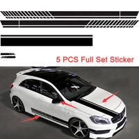 Car Side Door Hood Rearview Mirror Racing Sticker Full Set 5PCS Black Waterproof