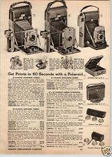 1955 PAPER AD Polaroid Pathfinder Cameras Speedliner Exakta Kodak Chevron Retina