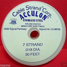 TIGERTAIL WIRE SILVER COLOR 7 STRAND .018 IN DIA, 30 FT Acculon