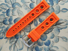 NEW 22MM Orange Pilot Racing ,3 Big Holes Watch Rubber, Solid Buckle Fits ALL
