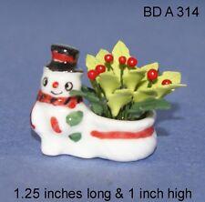 Ceramic Vase W/ Holly Plant Snowman Design Glass Dollhouse Miniature 1:12 Scale