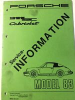 Factory Porsche original service information 911 SC Cab 1983