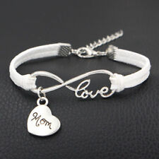 1pc Infinity Love Mom Bracelet Charm Anklet Heart Mothers Day Gift Jewelry White