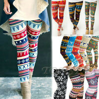 Warm Women Winter Christmas Snowflake Knitted Leggings Cotton Stockings Pants