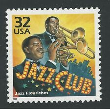 American Music Jazz Club Flourishes Louis Armstrong Jelly Roll Morton US Stamp!