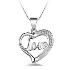 Fashion Women Heart Sterling Silver Plated Pendant Necklace Chain Jewelry Gift