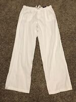 basic editions Womens L Relaxed Fit White Cotton Pants NWT A36