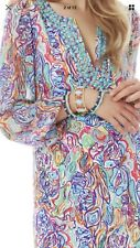 1. Lilly PULITZER SAEMUS Silk BEADED Dress WHAT A CATCH Print FISHES Size 6 New