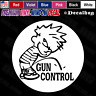Calvin Pissing On Gun Control Funny Rude Car Truck Window Vinyl Decal Sticker.