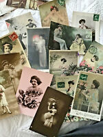 Lot 14 Vtg French France Postcard RPPC Hand Colored Pretty Gibson Women 010