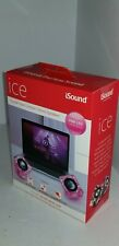 iSound Portable Wired Ice Crystal Clear Transparent Pink Compact Speakers