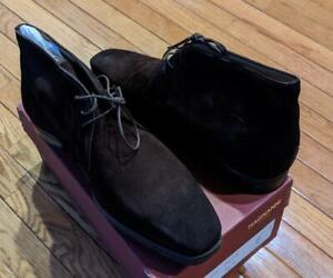 "$395 Mens Magnanni ""Mundo"" Suede Chukka Boots Brown US 11"