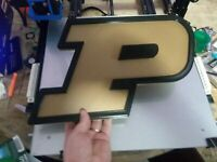 """Purdue Boilermakers 3D Logo 3D Printed Plaque Sign Gift Present Wall Art 15""""×10"""""""