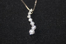 "14k White Gold Diamond 7 Stone Curved Journey Necklace Pendant 18.5"" Chain"