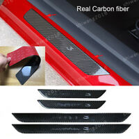 Real Carbon fiber Outer Door Sill Guards Plate Trim For Tesla Model 3 2018-2019