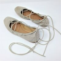 Tahari Womens Lace Up Ankle Strap Taupe Ballet Flats Size 6M EUC