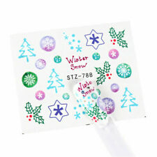 Nail Art Water Decals Stickers Christmas Winter Snow Snowflakes Holly Tree (788)