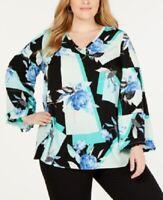 Alfani 1x Women's Plus Size Blouse, Floral Printed Ruffle-Trim Top, $76 NwT