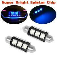 2x Blue 36mm Festoon No Error 3-LED License Plate Lights Bulbs for Audi
