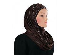 Metallic JERSEY Scarf Bubble Chiffon slip on Hijab Shawl Wrap Muslim Headcover
