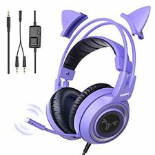 SOMIC Purple Gaming Headset with Microphone - Girls Women With Removable Cat Ear