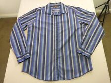 078 MENS NWOT BEN SHERMAN BLUE / GREY STRIPED L/S SHIRT SZE XL $110 RRP.
