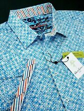 Robert Graham Geometric Grid Print Short Sleeve Blue Sport Shirts
