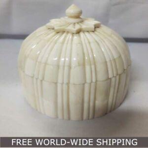 Real Bone Inlay Designer Luxury Round Jewellery Box Gift storage WHITE G