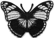 Black Butterfly rock n roll goth embroidered applique iron-on patch S-1308