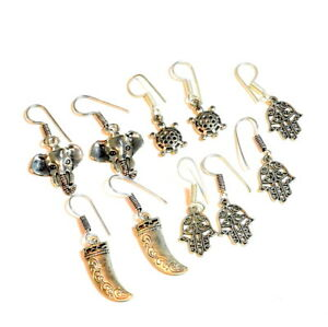 Wholesale 5 Psc Lot 925 Silver Plated Hamsa Hnad Of Fatima Earring RC589