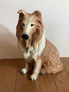 "Vintage Collie Dog Figurine Porcelain Lassie 11"" Tall"