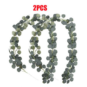 2pcs Artificial Greenery Garland Faux Silk Eucalyptus Vines Wreath Wedding Decor