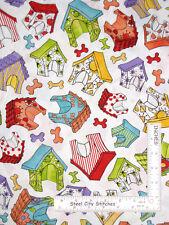 592ae5ae7 Loralie Joy Dog Puppy House Bone Toss White Cotton Fabric Loralie By The  Yard