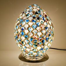 MOSAIC GLASS BLUE TILE EGG LAMP, CONTEMPORARY