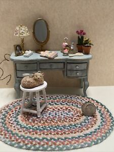 Dollhouse Miniature Customized Vintage Vanity Artisan Rug Cat Flowers Lamp Book